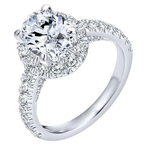2.15 ctw Oval Diamond & Halo Engagement Ring