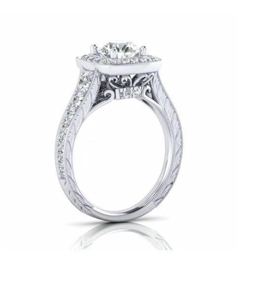 0.90 Carat Round Diamond & Cushion Halo Vintage Ring