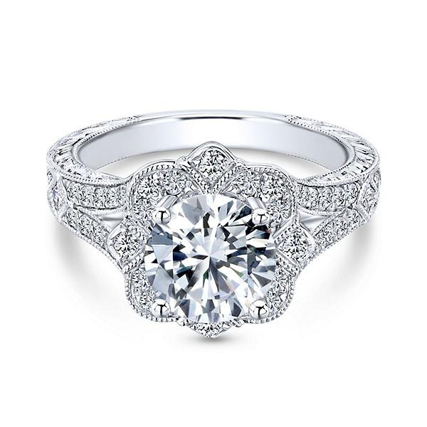 1.46 ctw Diamond Floral Vintage Engagement Ring