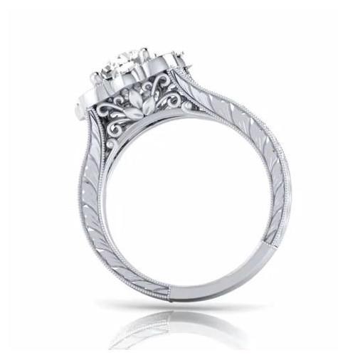 1.46 ctw Diamond Floral Vintage Engagement Ring