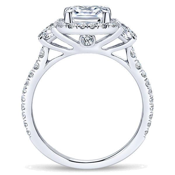 1.50 Carat Cushion & Half Moon Diamond Engagement Ring