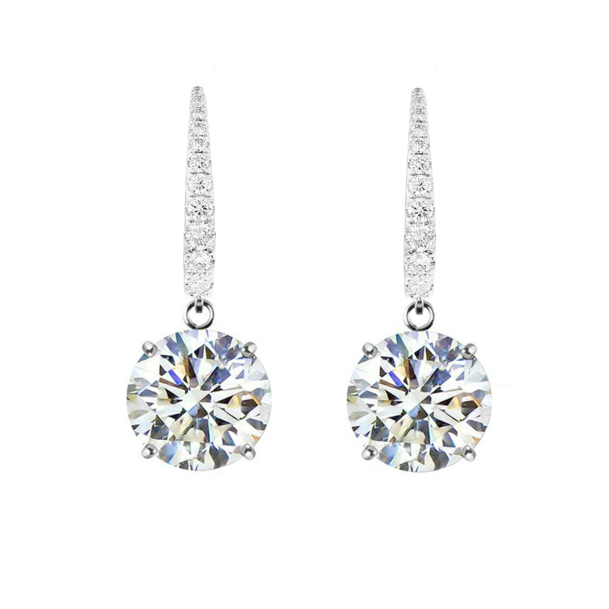 8 ctw Round Moissanite Dangle Leverback Earrings Platinum