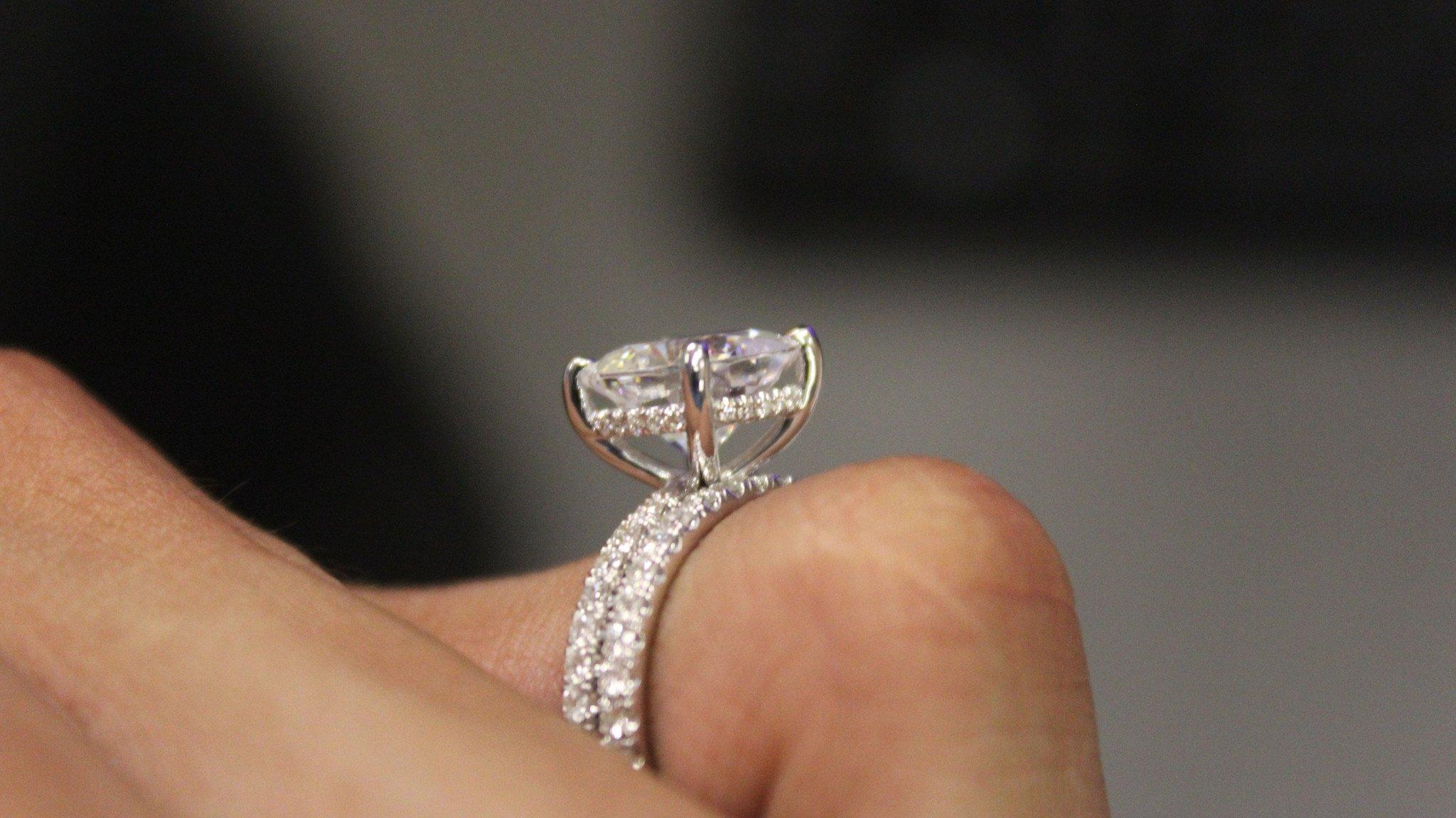8mm Cushion Forever One Moissanite & Diamond Hidden Halo Ring