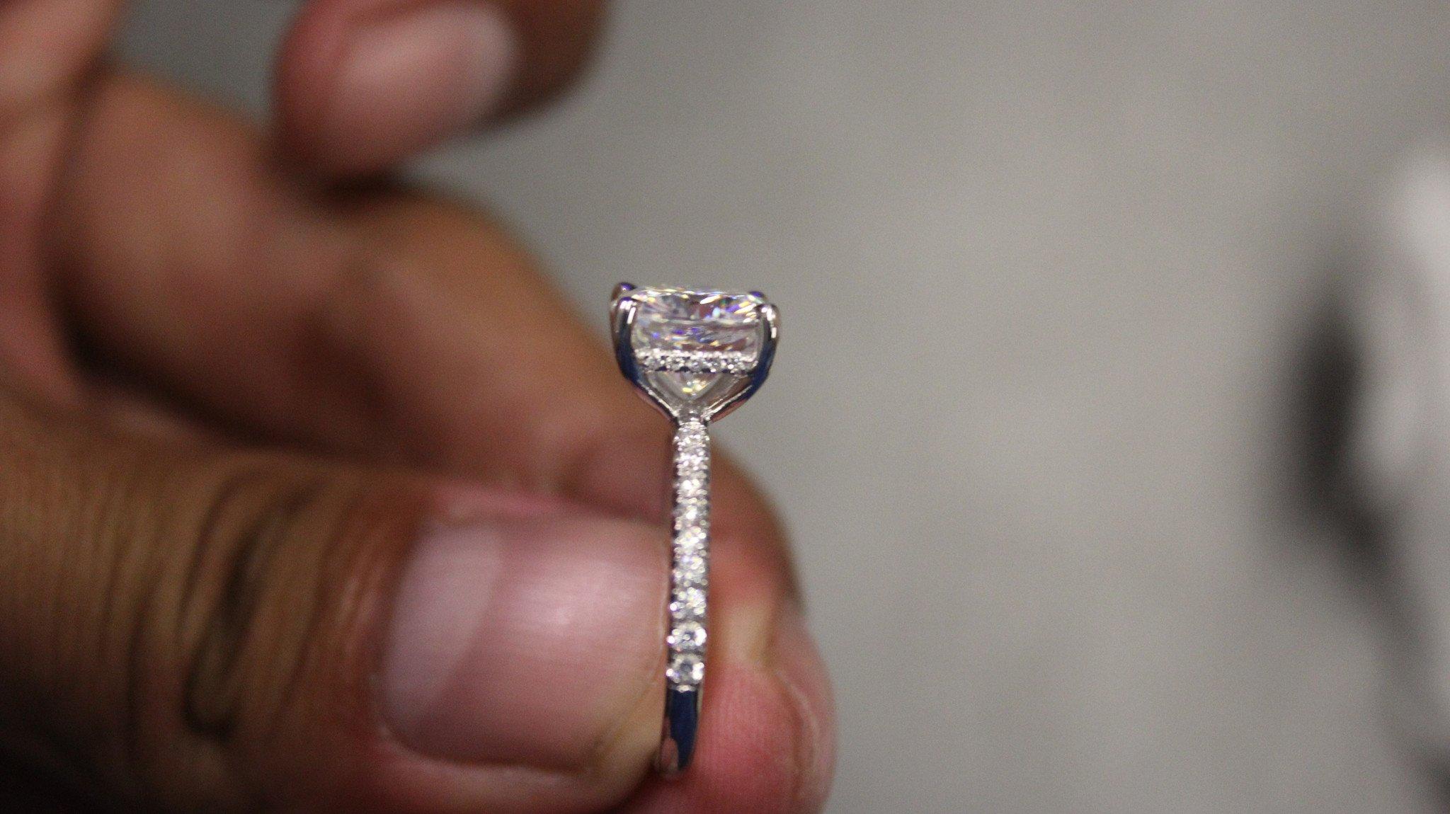 8mm Cushion Forever One Moissanite & Diamond Hidden Halo Bridal Set