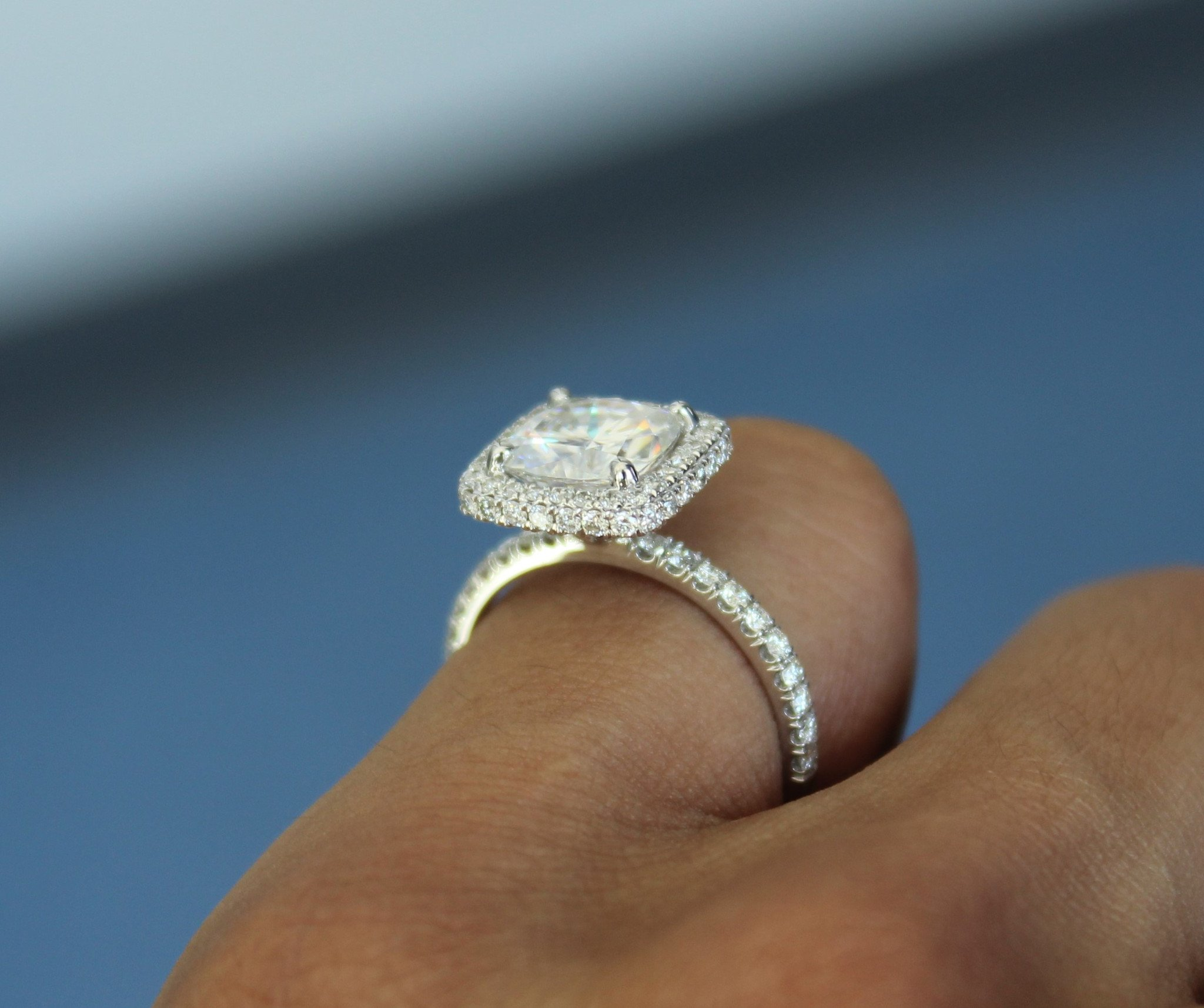 2 Carat Cushion Moissanite & Diamond Double Edge Halo Ring
