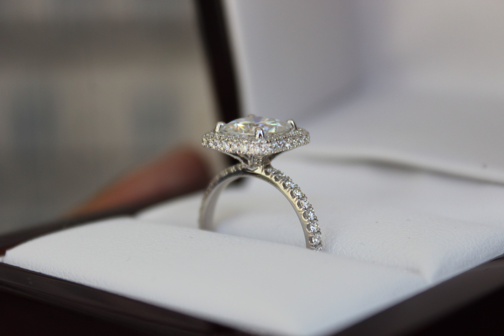 2 Carat Cushion Moissanite & Diamond Double Edge Halo Ring