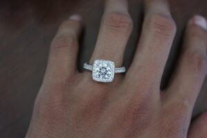 1 Carat Round Moissanite & Diamond Cushion Double Edge Halo Three Row Pave Ring