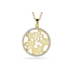 Diamond Round Floral Motif Pendant Necklace