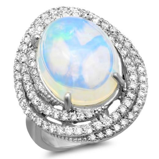 7 Carat Opal & Diamond Swirl Halo Ring