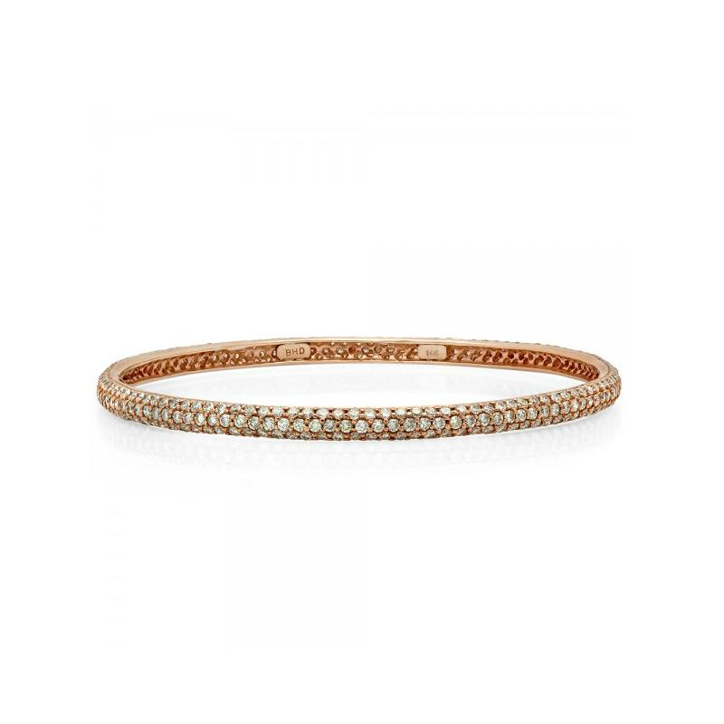 6 Carat Diamond Pave Bangle 14k Rose Gold