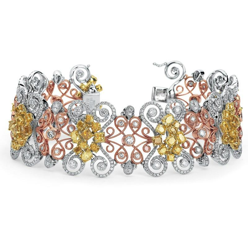 Yellow Diamond & White Diamond 18k Two Tone Gold Bracelet (16.03 ctw)