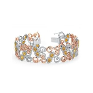 Fancy Yellow & White Diamond 18k Three Tone Gold Bracelet
