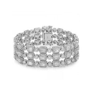 Emerald & Round Bezel Diamond Halo Bracelet