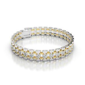 Men's Diamond Link Bracelet 14k Two Tone