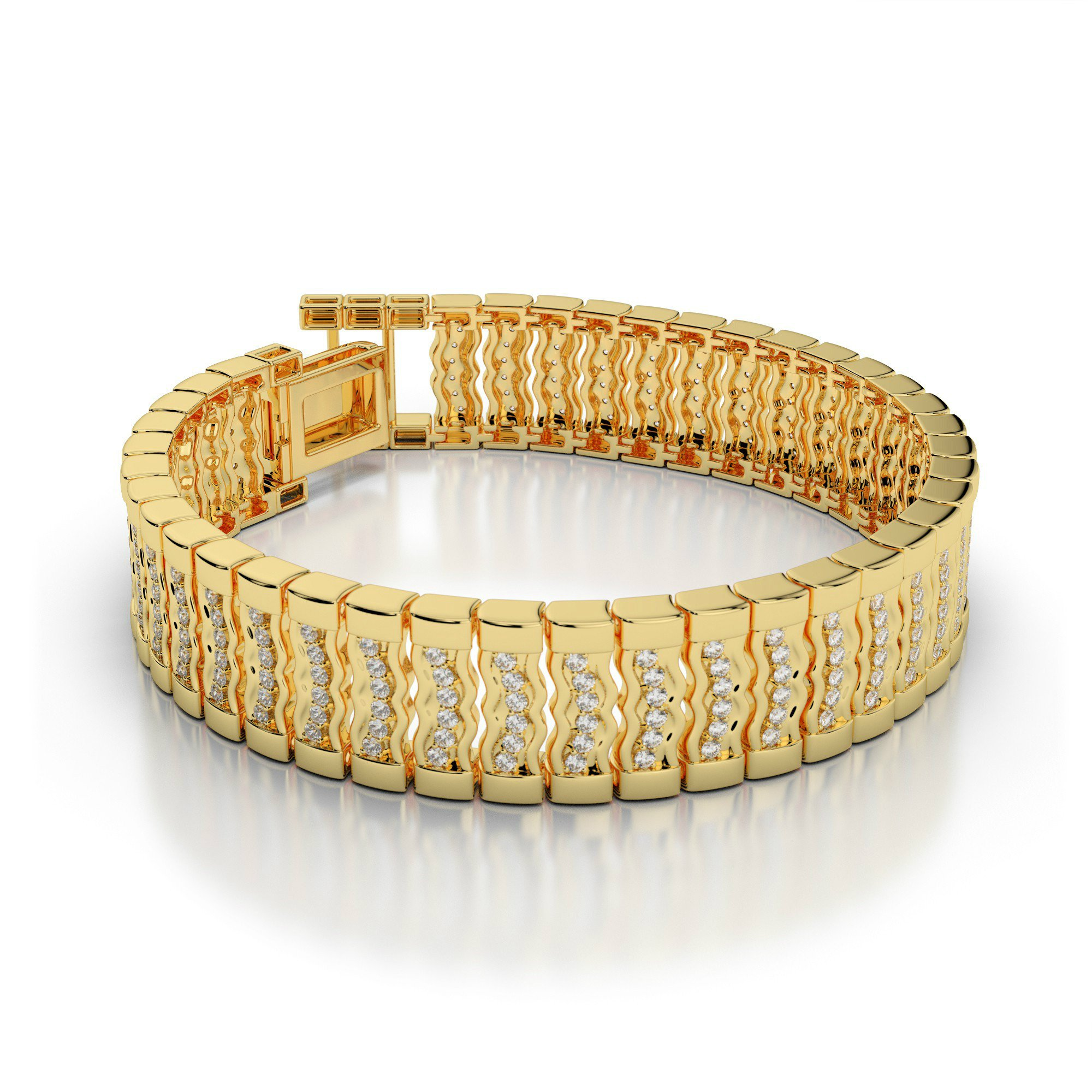 3.00 Carat Diamond Wavy Link Men's Bracelet