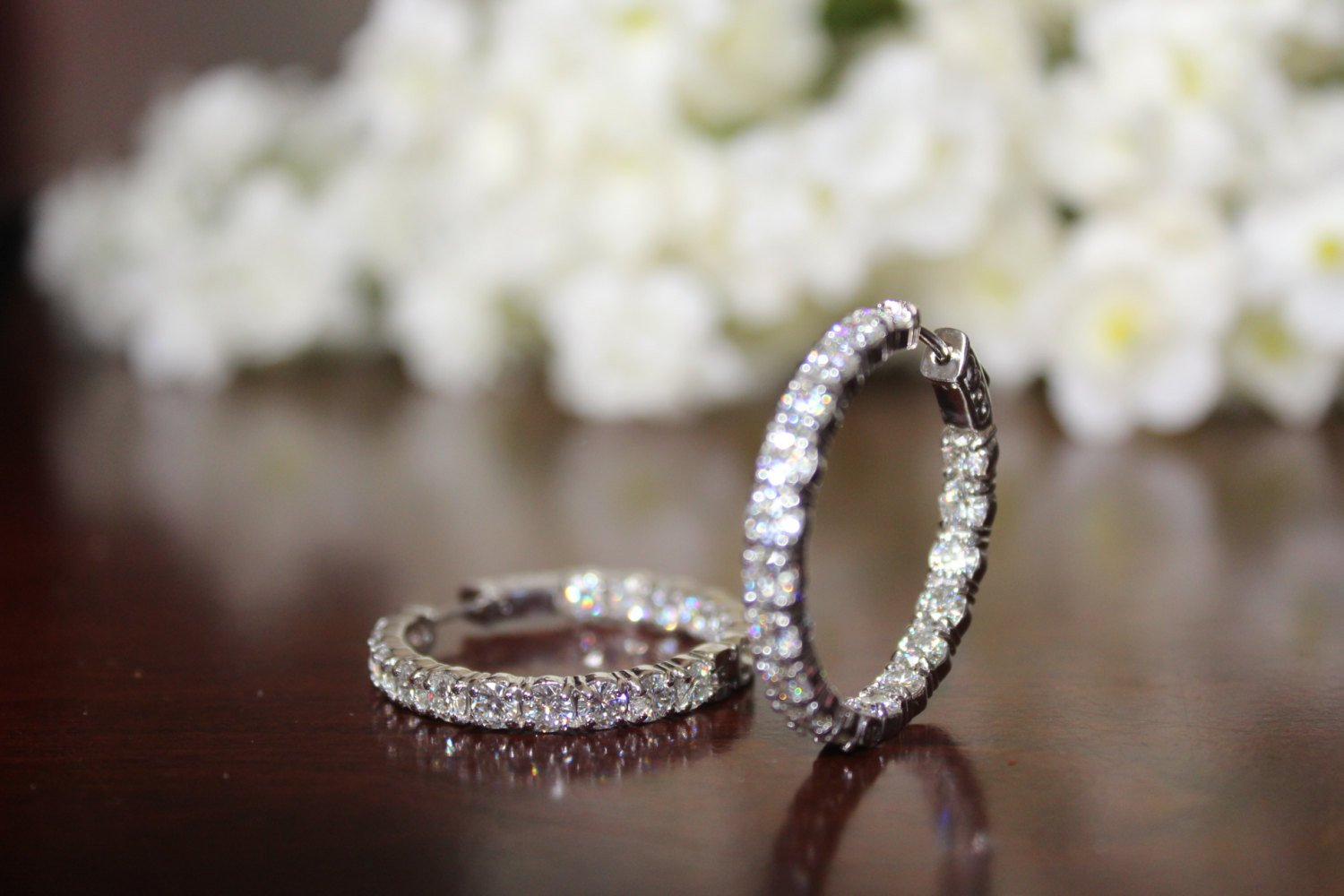 5.40 carat Forever Brilliant Moissanite Hoop Earrings 14k White Gold (30mm)