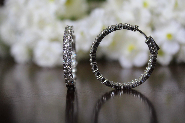 5.40 carat Forever Brilliant Moissanite Hoop Earrings 14k White Gold (30mm)