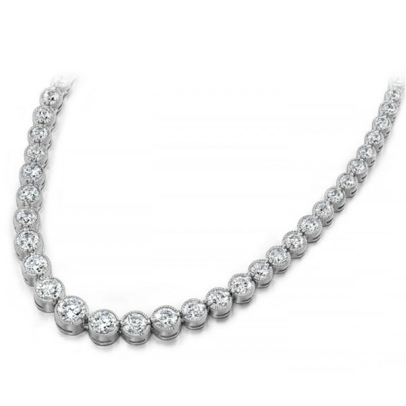 15 Carat Diamond Milgrain Bezel Tennis Necklace