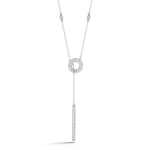 Double Open Pave Circle Lariat Necklace
