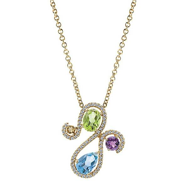 Diamond & Gemstone Free-Form Pendant