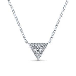 Round Diamond & Triangle Halo Pendant Necklace