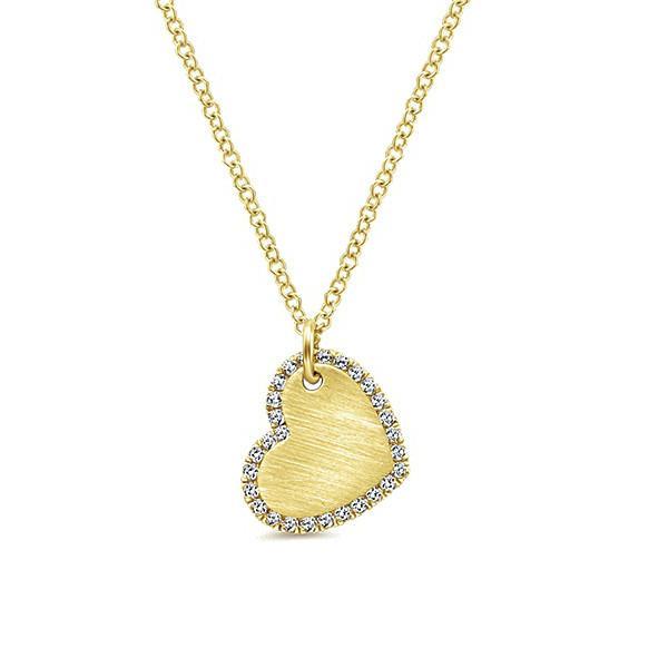 Textured Heart Diamond Pendant