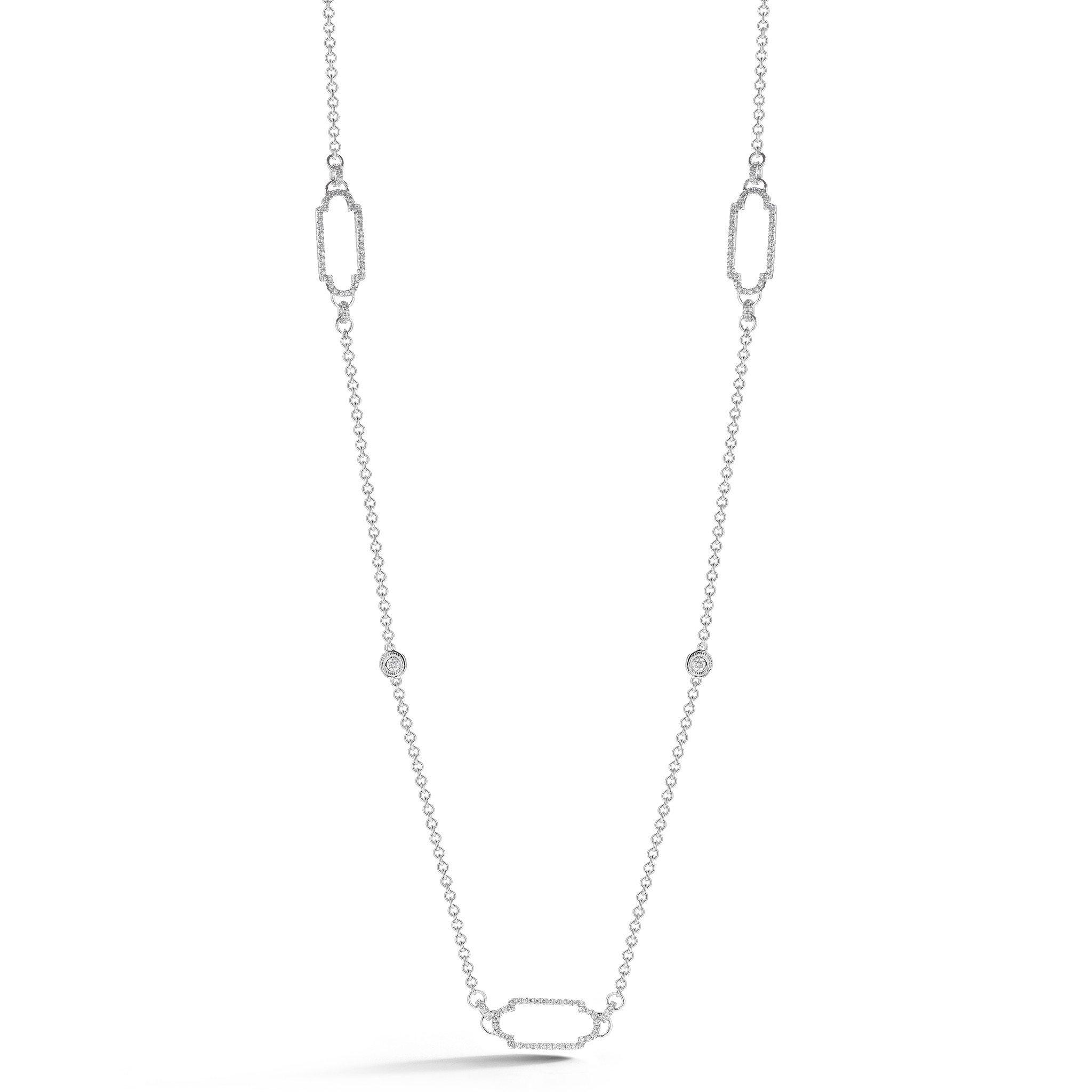 Art Deco Link Open Pave Necklace
