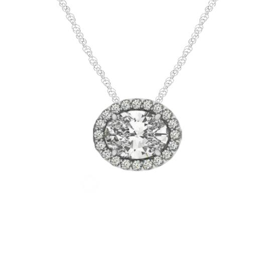 1.00 Carat Oval Forever One Moissanite & Diamond Halo East-West Pendant Necklace