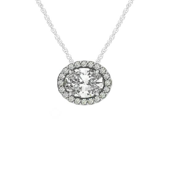 0.75 Carat Oval Diamond & Halo Horizontal Pendant Necklace