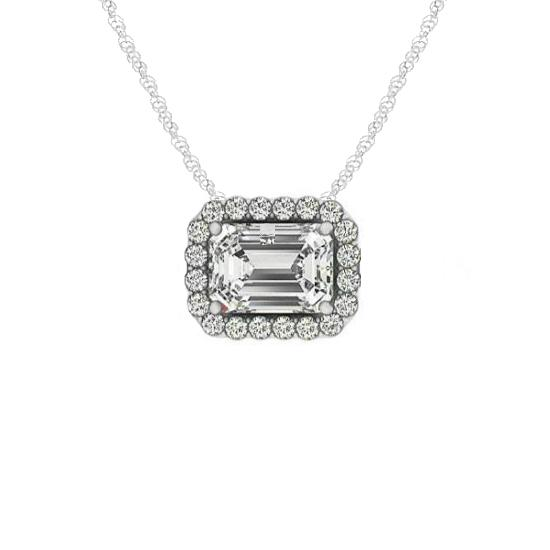 1.00 Carat Emerald Diamond & Halo Horizontal Pendant Necklace