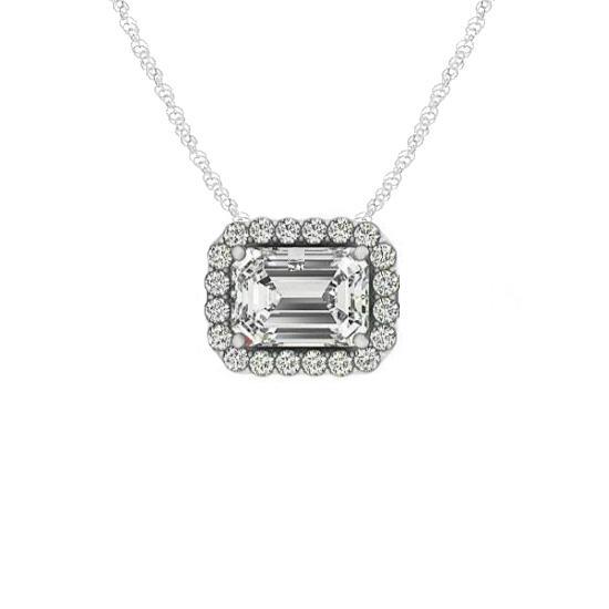 1.00 Carat Emerald Diamond & Halo Horizontal Pendant Necklace