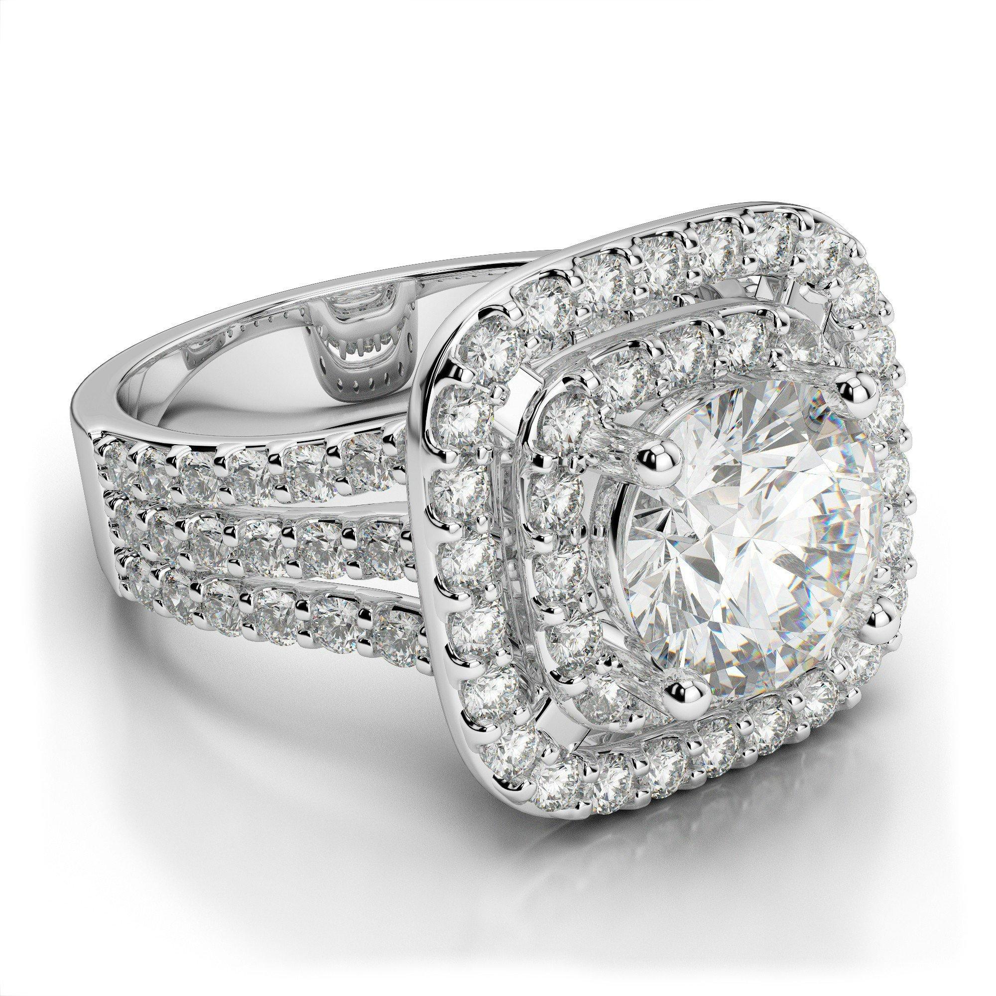 2.41 ctw Diamond & Double Halo Three Row Engagement Ring