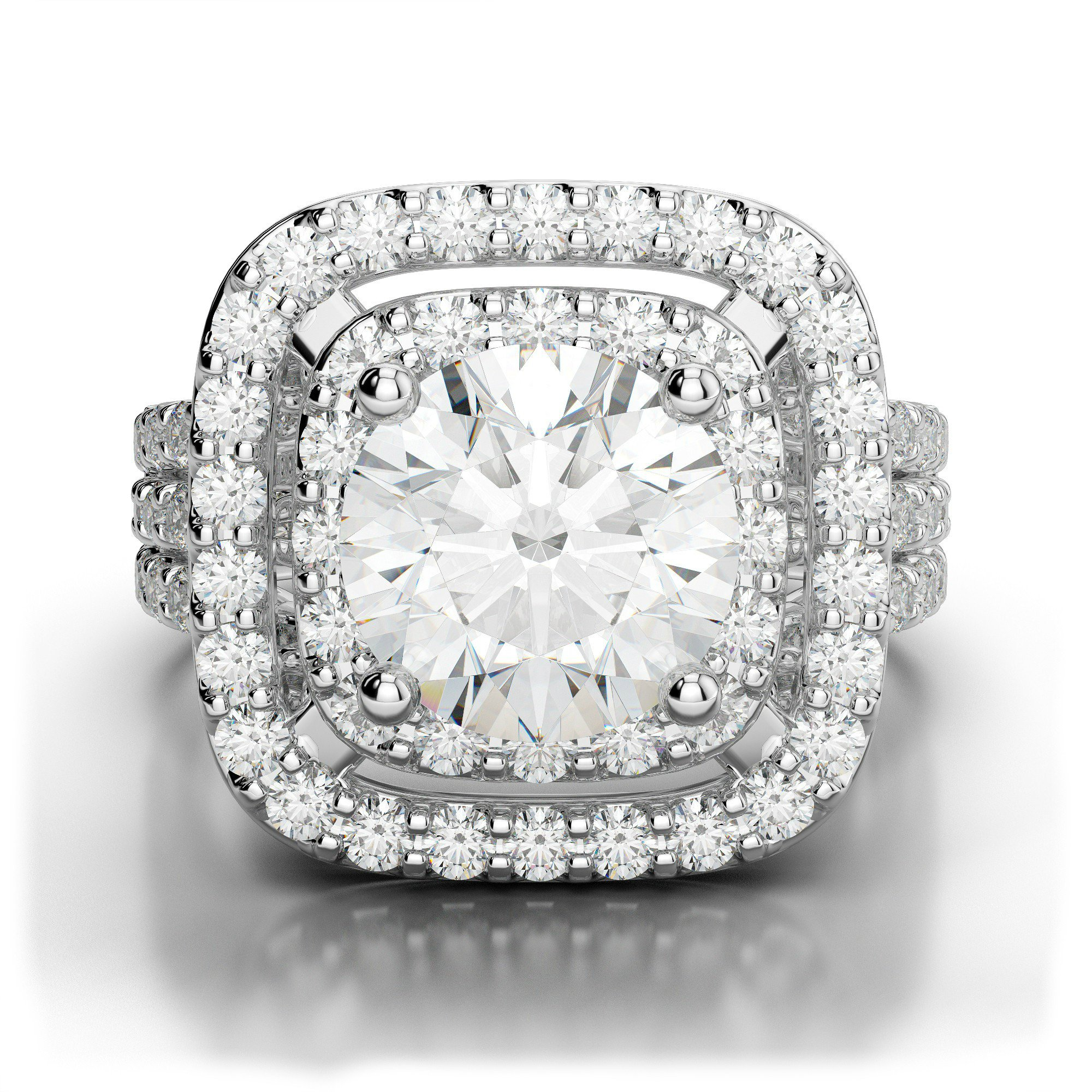 2.41 ctw Diamond & Double Halo Three Row Engagement Ring