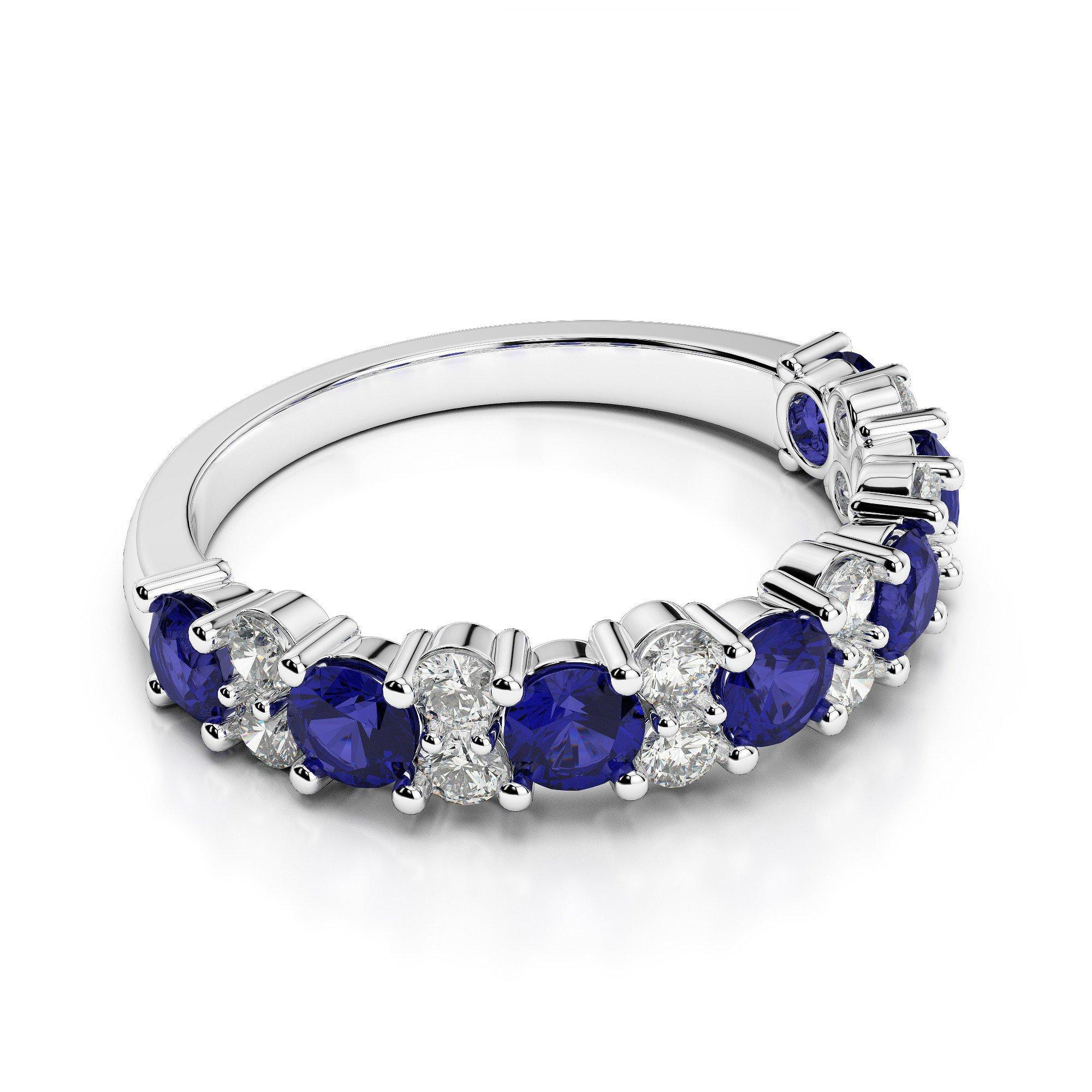 Sapphire & Diamond Wedding Band