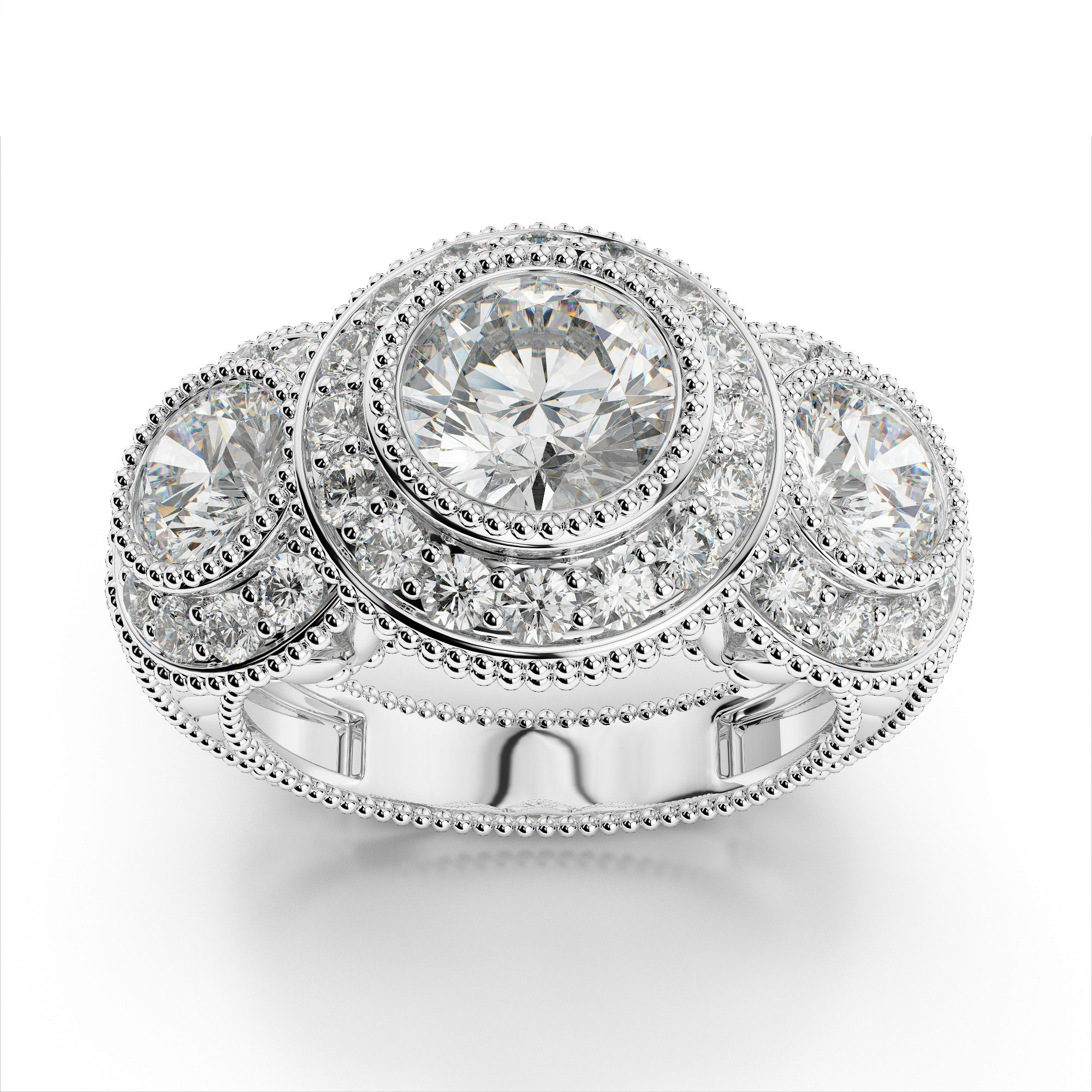 1 Carat Round Diamond Three Stone Halo Engagement Ring