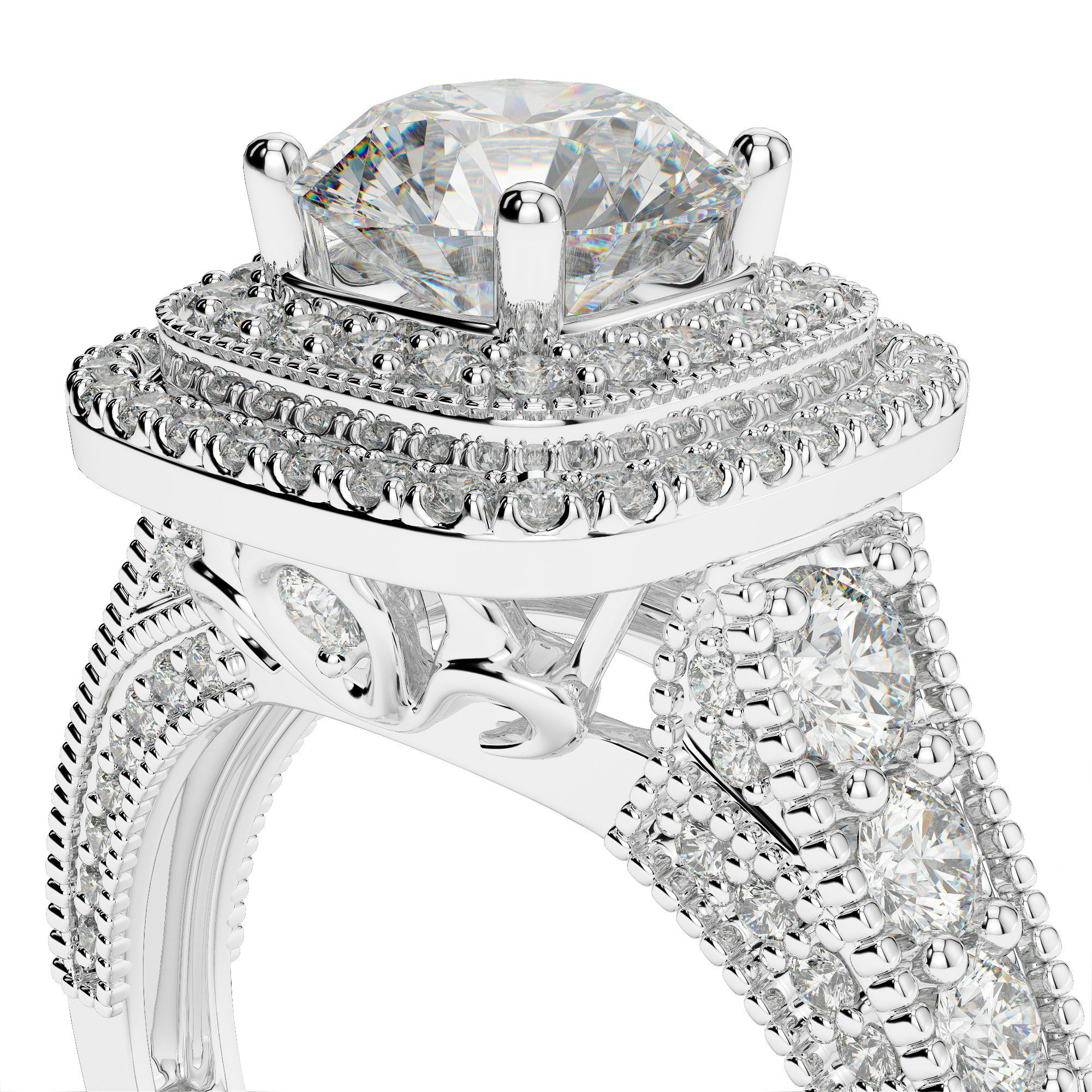 1.80 ctw Vintage Style Three Sided Diamond Pave Engagement Ring