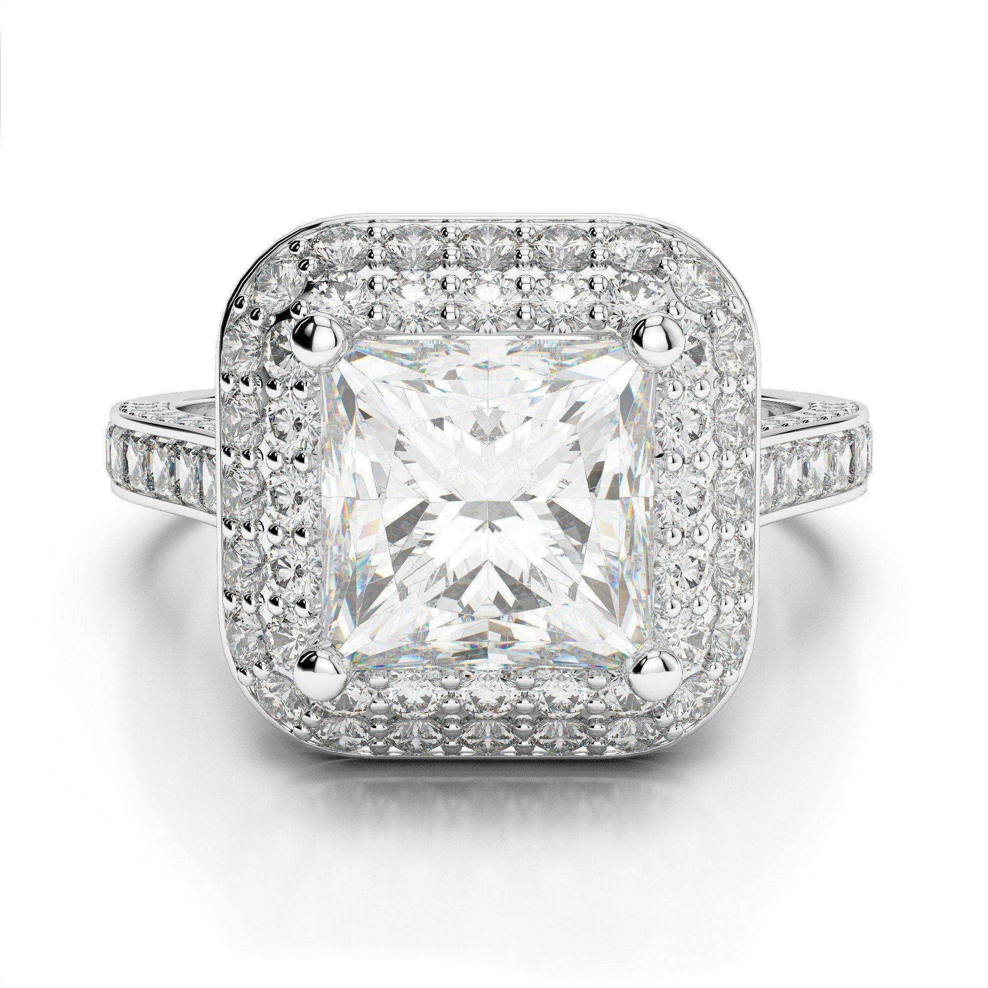 2.14 ctw Princess Diamond Double Halo Engagement Ring