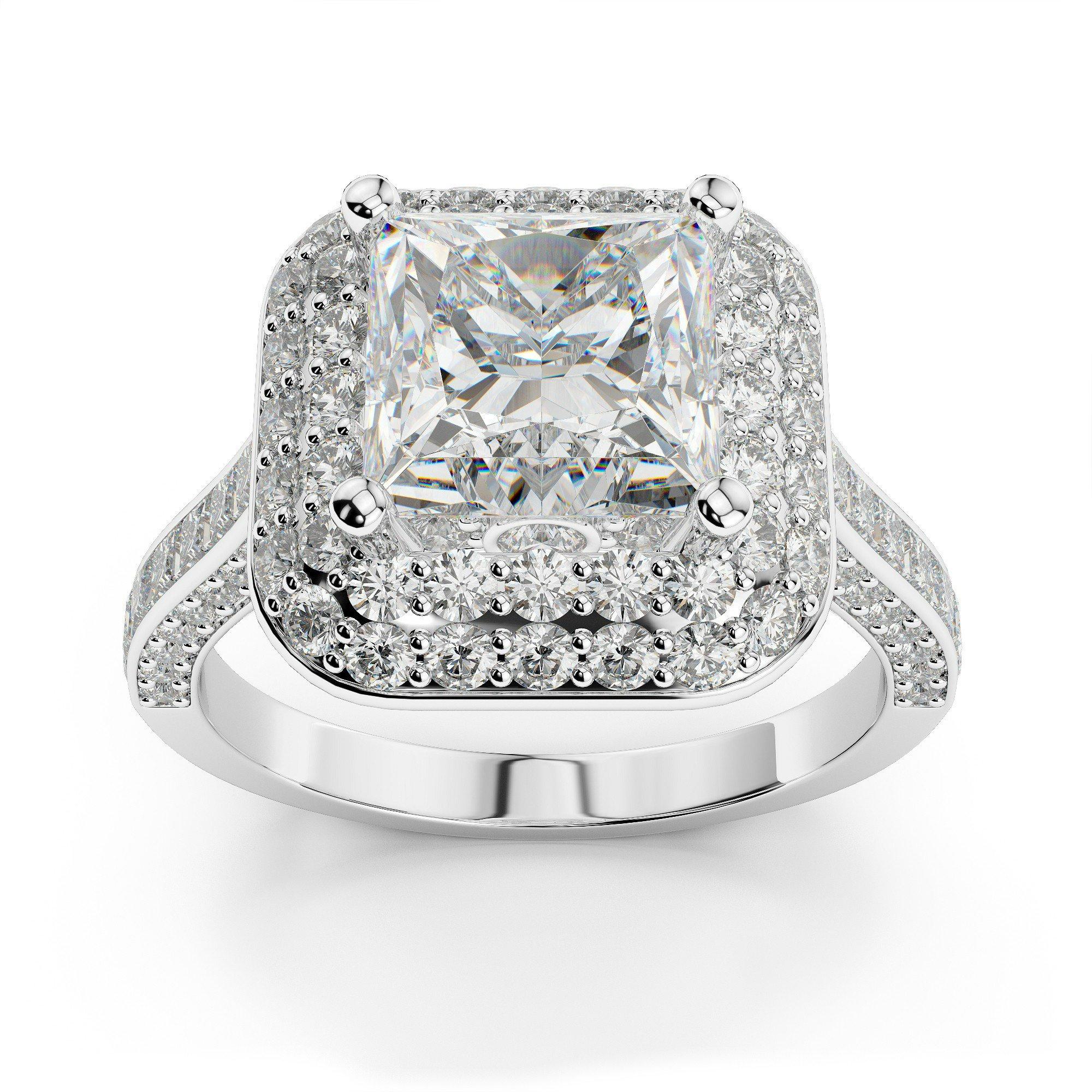 2.14 ctw Princess Diamond Double Halo Engagement Ring