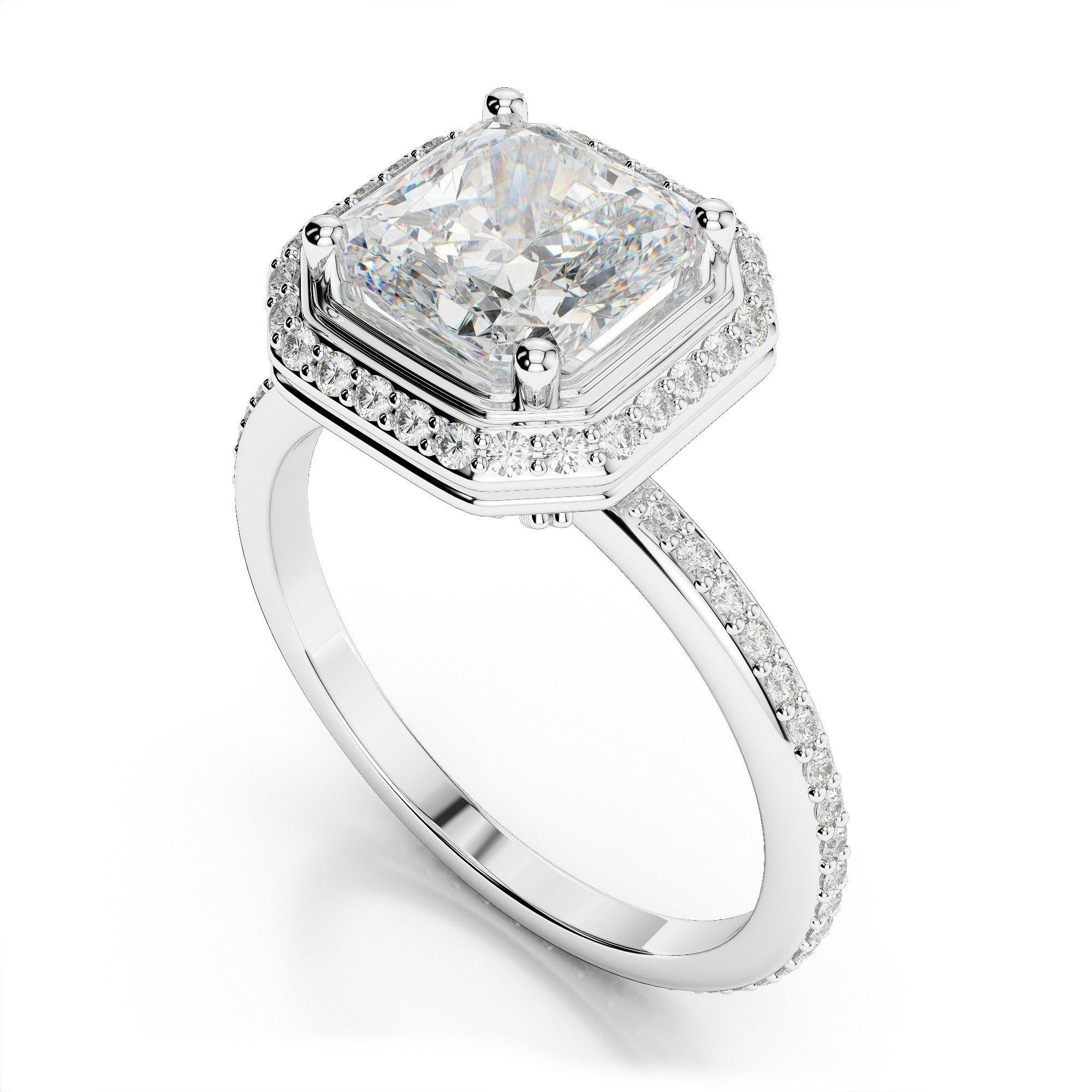 1.47 ctw Asscher Cut Diamond & Halo Engagement Ring
