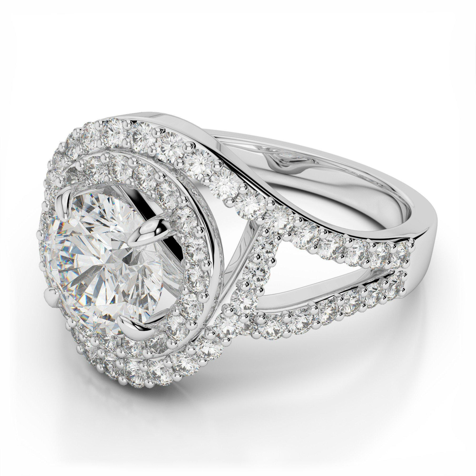 1.50 ctw Diamond & Swirl Halo Split Shank Engagement Ring