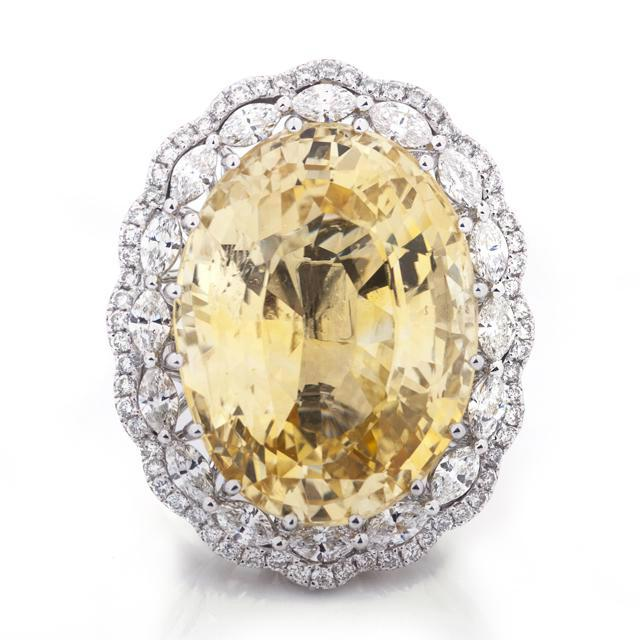 41.00 Carat Oval Yellow Sapphire & Diamond Ring (Converts to Pendant)