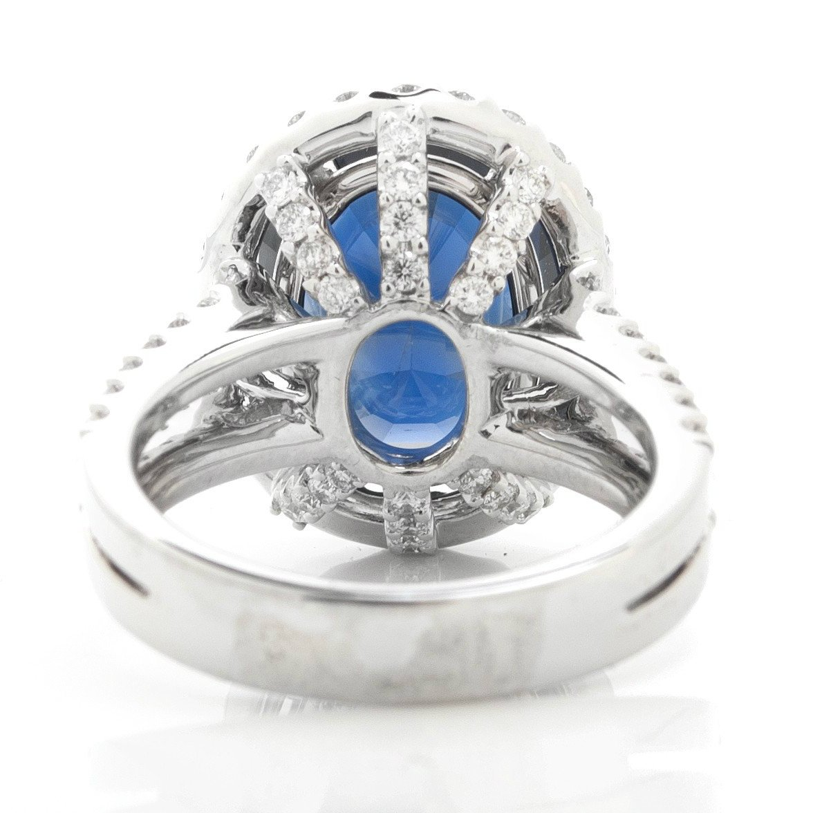7.60 Carat Oval Blue Sapphire & Diamond Cocktail Ring