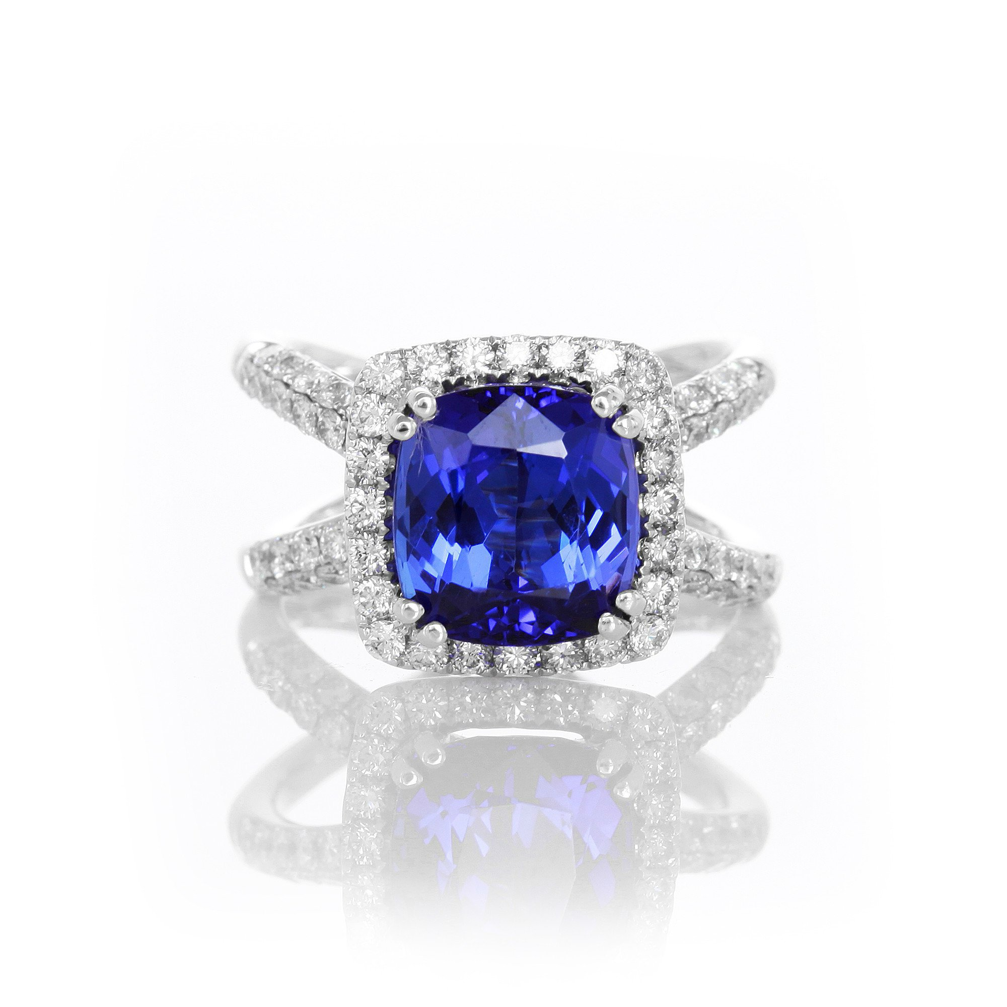 4.25 Carat Cushion Tanzanite & Diamond Split Shank Ring