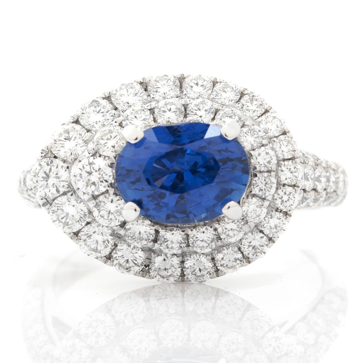Sideways Drop Diamond & Oval Sapphire Ring