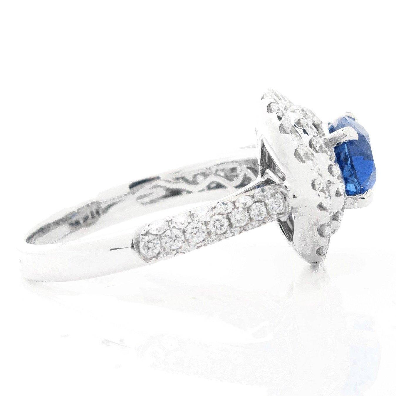 Sideways Drop Diamond & Oval Sapphire Ring