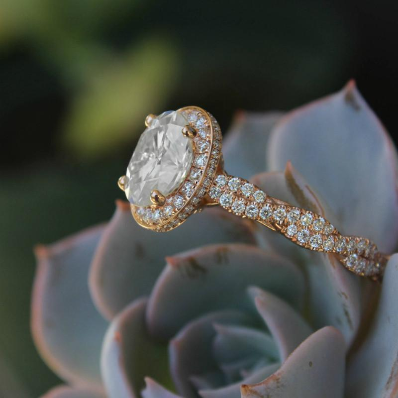 2.00 Carat Oval Diamond & Double Edge Halo Braided Shank Ring