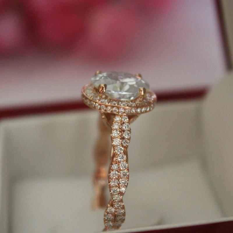 2.00 Carat Oval Diamond & Double Edge Halo Braided Shank Ring