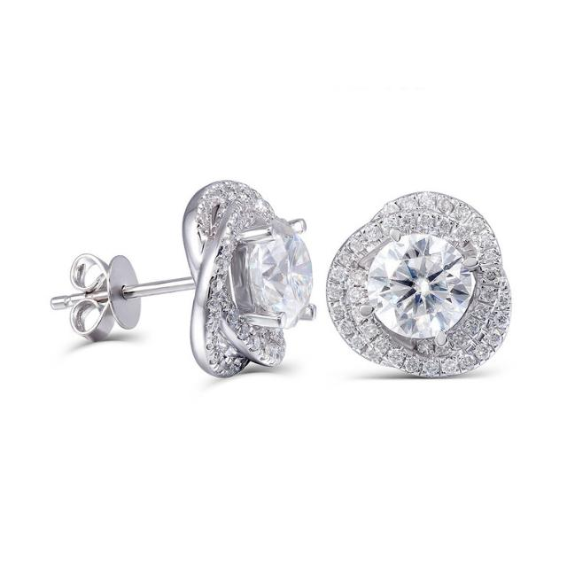 2.00 ctw Moissanite & Diamond Love Knot Halo Stud Earrings