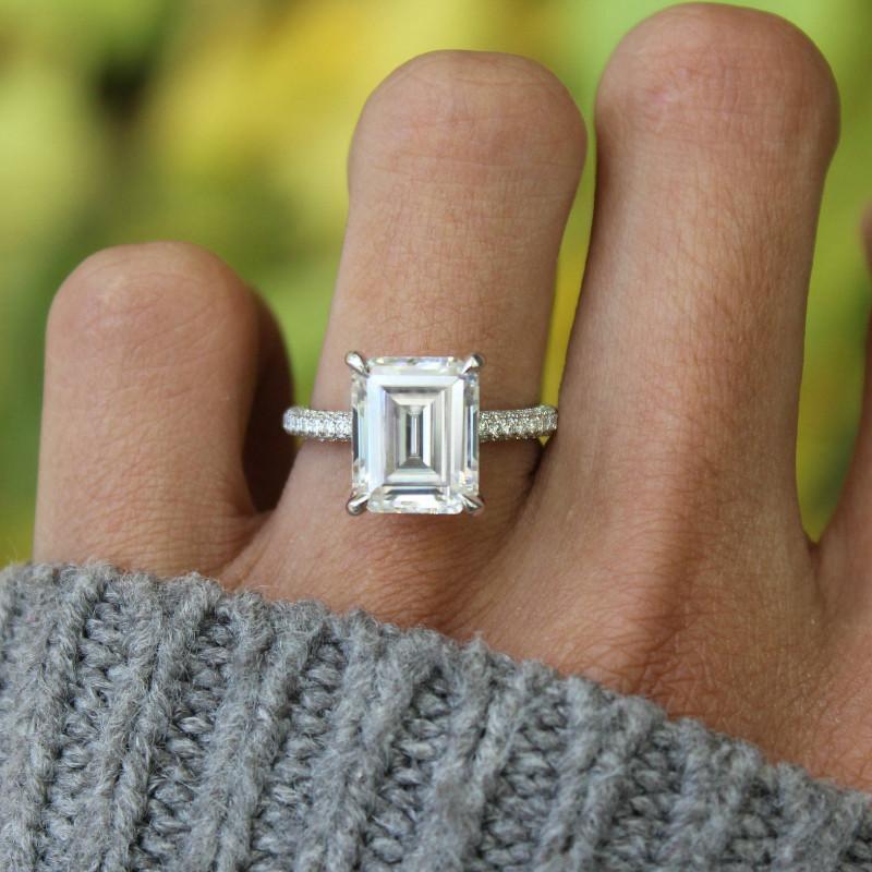 5.00 Carat Emerald Diamond & Three Row Pave Engagement Ring