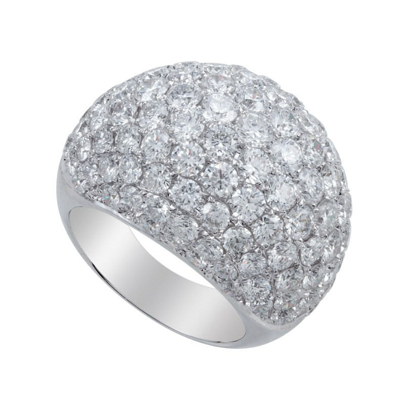 8.70 Carat Diamond Pave Dome Fashion Ring
